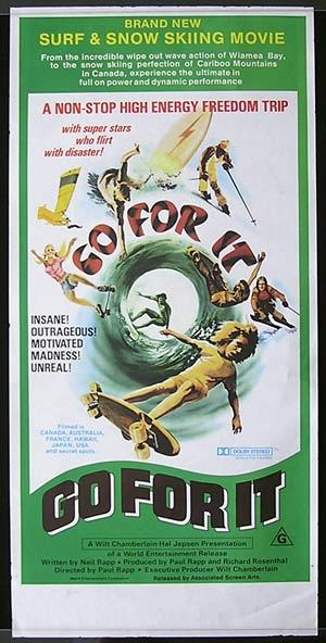 GO FOR IT 1976 Surfing Skateboard Daybill Movie poster
