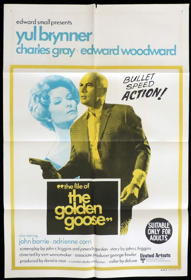 THE FILE OF THE GOLDEN GOOSE One Sheet Movie Poster Edward Woodward Yul Brynner