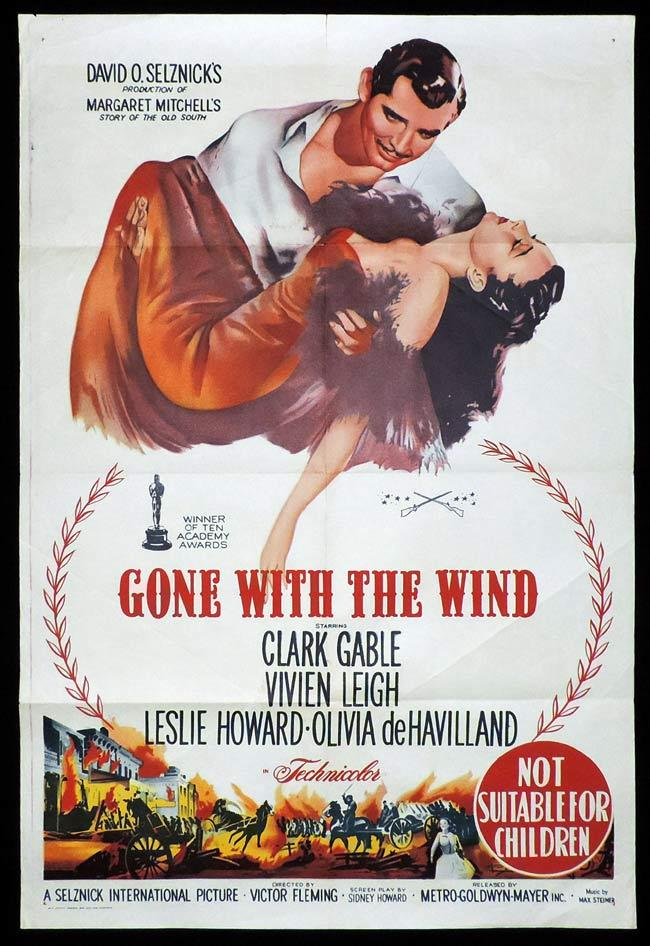 GONE WITH THE WIND, Original 1940s release One sheet, Movie Poster, Vivien Leigh, Clark Gable
