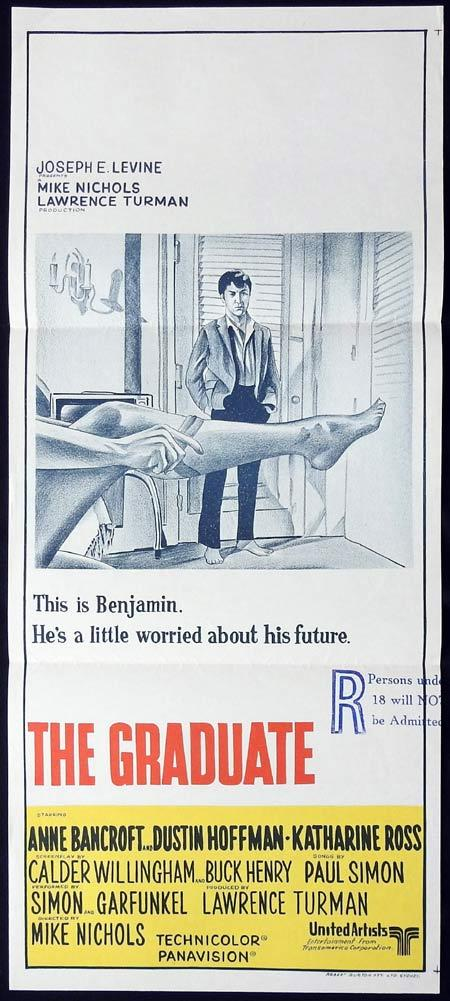 THE GRADUATE Original Daybill Movie Poster Anne Bancroft Dustin Hoffman