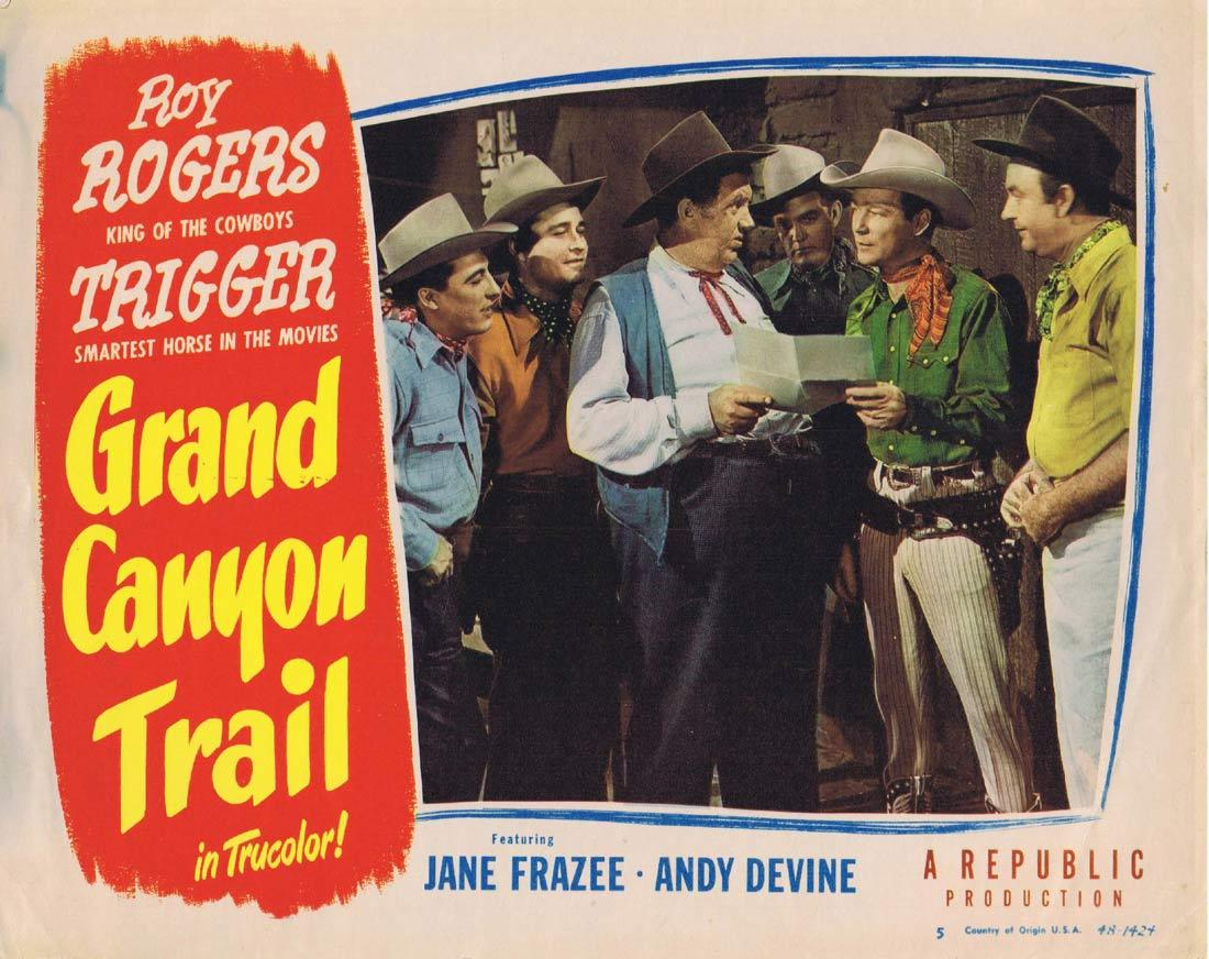 GRAND CANYON TRAIL Lobby Card 5 Roy Rogers Andy Devine Jane Frazee