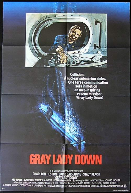 GRAY LADY DOWN Movie poster 1966 Rare CHARLTON HESTON British One sheet