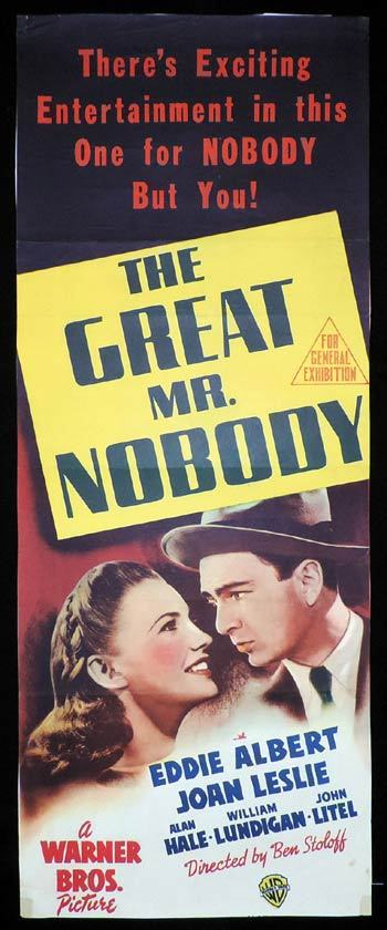 THE GREAT MR NOBODY Long Daybill Movie poster Eddie Albert Joan Leslie