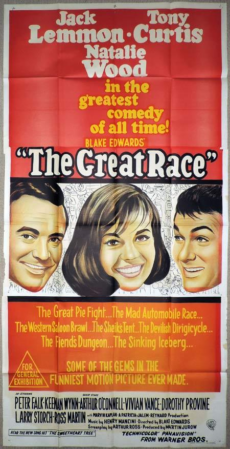 THE GREAT RACE Original 3 Sheet Movie Poster Tony Curtis Natalie Wood