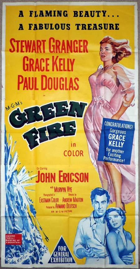 GREEN FIRE Original 3 Sheet Movie Poster Grace Kelly Stewart Granger