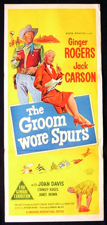 THE GROOM WORE SPURS Daybill Movie poster Ginger Rogers Jack Carson