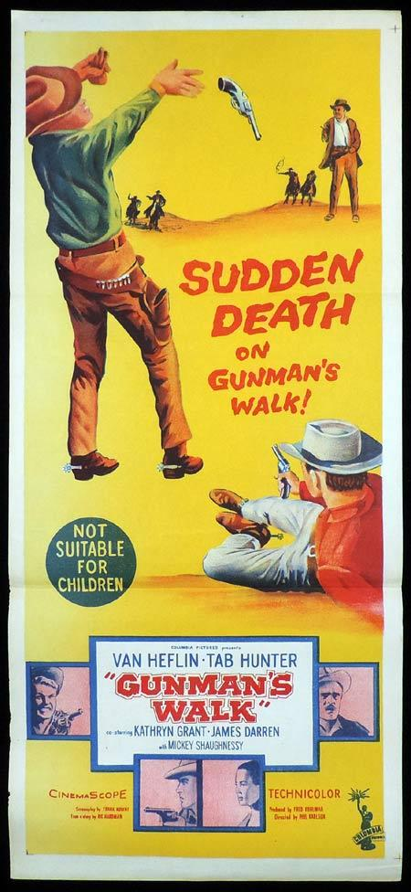 GUNMAN'S WALK Original Daybill Movie Poster Van Heflin Tab Hunter