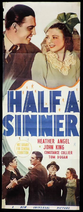 Half a Sinner, Daybill, Movie poster, Al Christie, Walter Catlett, Heather Angel, Henry Brandon, Constance Collier, Clem Bevans, Tom Dugan, Wilbur Mack, Sonny Bupp, John 'Dusty' King, William B. Davidson, Joe Devlin, Emma Dunn, Fern Emmett