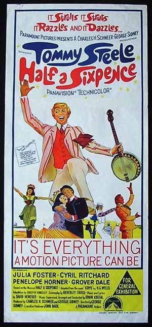 HALF A SIXPENCE Movie poster 1967 Tommy Steele daybill