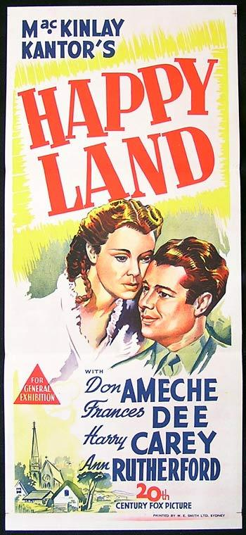 HAPPY LAND Original Daybill Movie Poster 1943 Don Ameche Frances Dee
