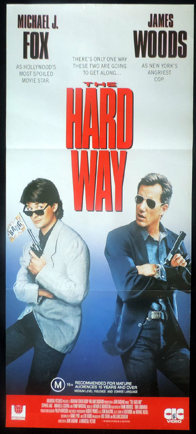 THE HARD WAY Original Video Release Daybill Movie poster Michael J.Fox James Woods