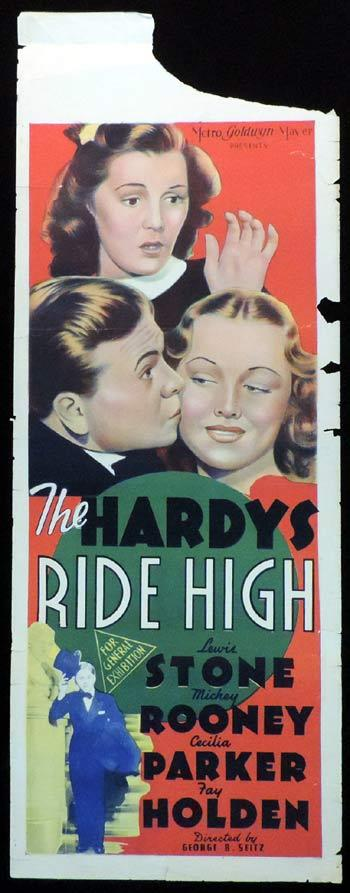 THE HARDYS RIDE HIGH Long Daybill Movie poster 1939 Mickey Rooney