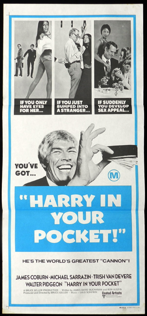 Harry in Your Pocket, Bruce Geller, Walter Pidgeon, James Coburn, Michael Sarrazin, Trish Van Devere