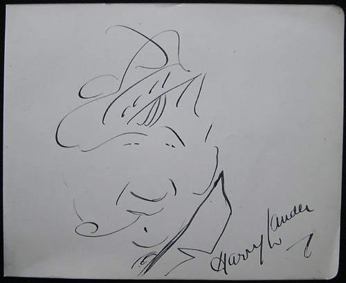 "LAUDER, Harry (1870-1950) Signed self-caricature, signed ""Harry Lauder."""