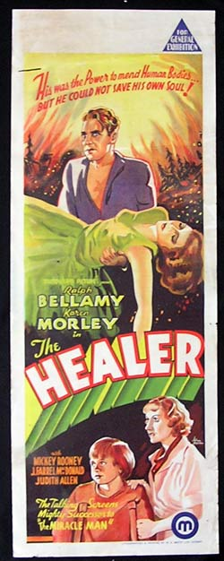 THE HEALER 1935 Mickey Rooney RARE long daybill poster