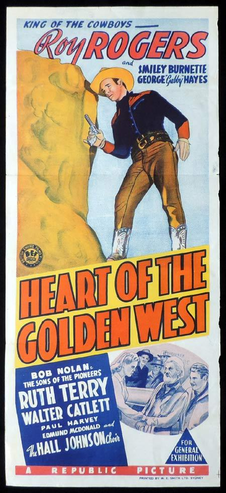 HEART OF THE GOLDEN WEST Original Daybill Movie Poster Clark Gable Roy Rogers