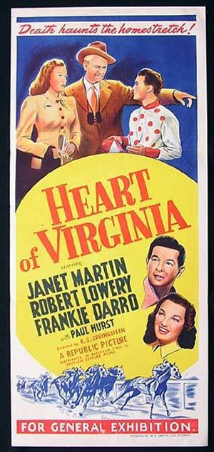 HEART OF VIRGINIA Daybill Movie Poster1948 Robert Lowery HORSE RACING