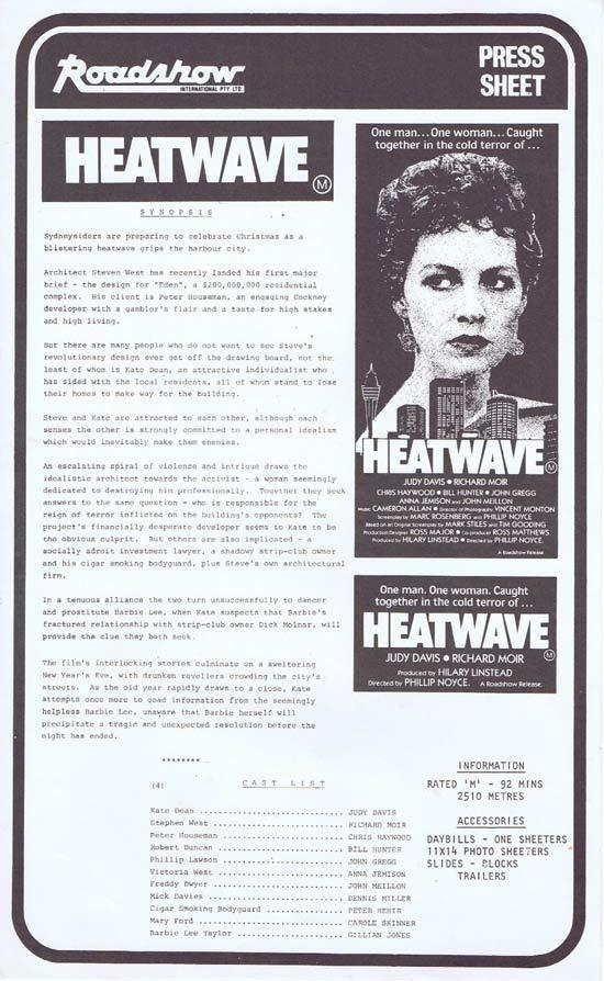 HEATWAVE Rare AUSTRALIAN Movie Press Sheet