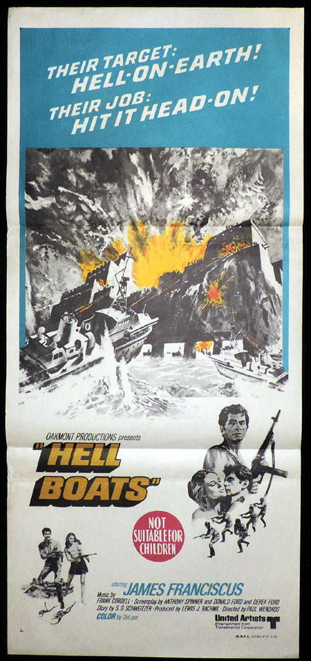 HELL BOATS Australian Daybill Movie poster James Franciscus