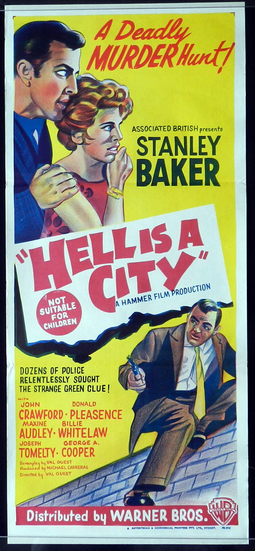 HELL IS A CITY Daybill Movie poster HAMMER HORROR Stanley Baker Noir Classic - Hell Is a City (1960) 