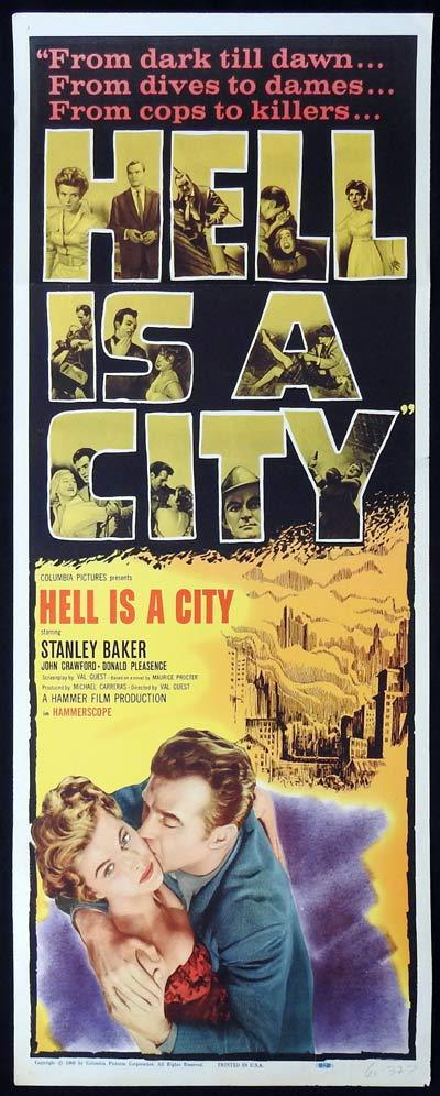 HELL IS A CITY US Insert Movie Poster Film Noir HAMMER FILMS Stanley Baker