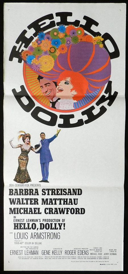 hello dolly original daybill movie poster 1969 barbra