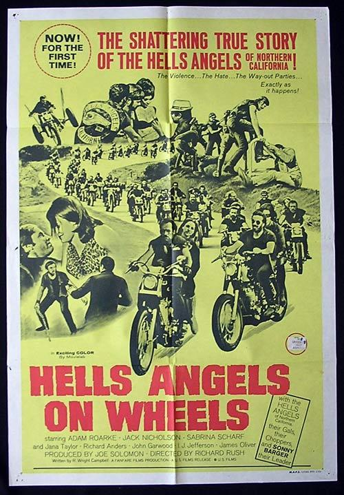 HELL'S ANGELS ON WHEELS Movie Poster 1967 Jack Nicholson BIKER MOTORCYCLE Rare One sheet
