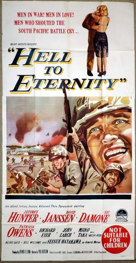 HELL TO ETERNITY Original 3 Sheet Movie Poster David Janssen