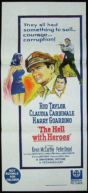 THE HELL WITH HEROES 1968 Rod Taylor Australian daybill Movie poster