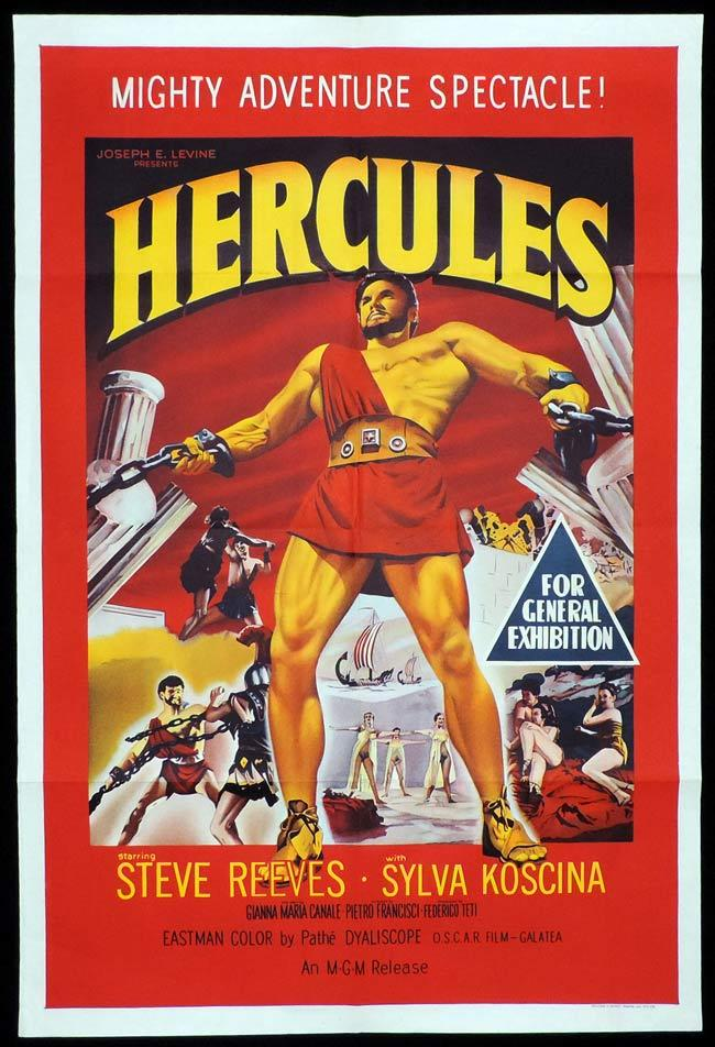 HERCULES, Original One sheet, Movie Poster, Steve Reeves, Sylvia Koscina