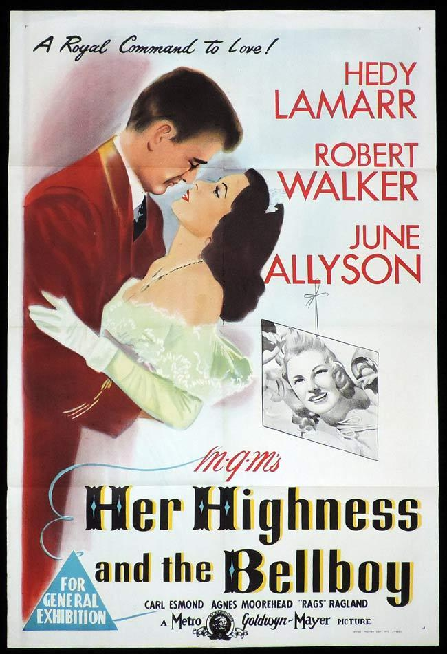 HER HIGHNESS AND THE BELLBOY Original One sheet Movie Poster Hedy Lamarr Robert Walker