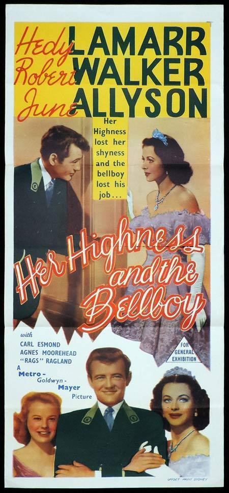HER HIGHNESS AND THE BELLBOY Original Daybill Movie Poster Hedy Lamarr Robert Walker