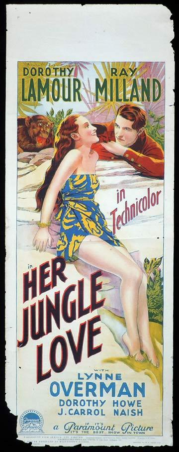 HER JUNGLE LOVE Long Daybill Movie Poster 1938 Dorothy Lamour Ray Milland