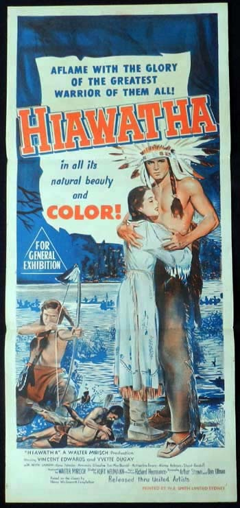 HIAWATHA Daybill Movie poster Vince Edwards American Indian