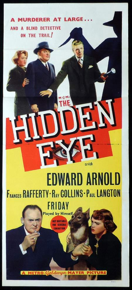 THE HIDDEN EYE Original Daybill Movie Poster Edward Arnold Blind Detective