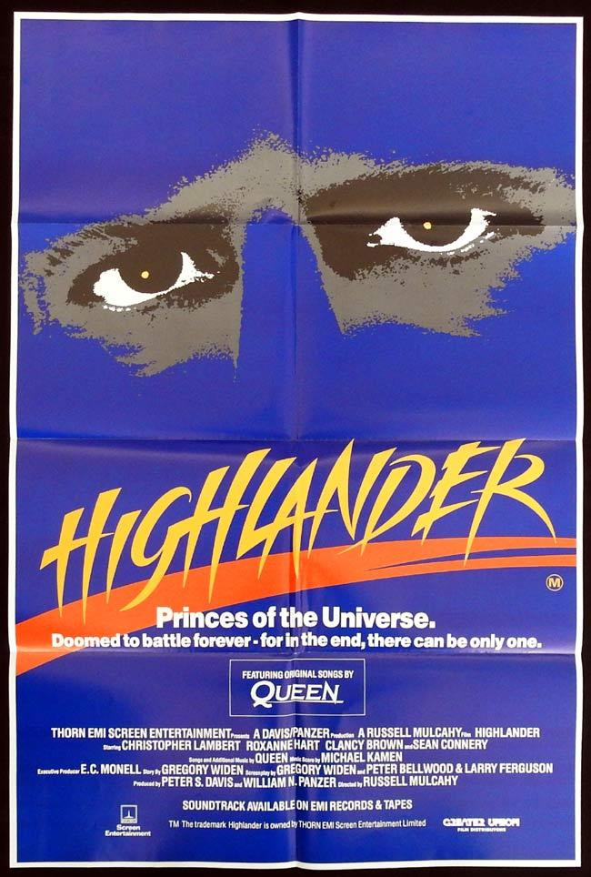 HIGHLANDER Original One sheet Movie Poster Christopher Lambert Sean Connery