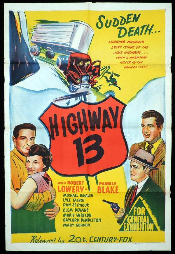 HIGHWAY 13 One Sheet Movie Poster Robert Lowery Film Noir