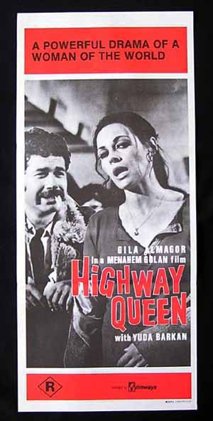 THE HIGHWAY QUEEN '71-Golan-Globus-Gila Almagor poster
