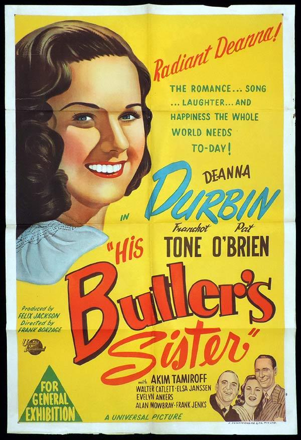 HIS BUTLER'S SISTER One Sheet Movie Poster Deanna Durbin