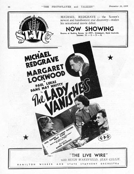 THE LADY VANISHES 1938-Alfred Hitchcock PHOTOPLAYER Original Advert