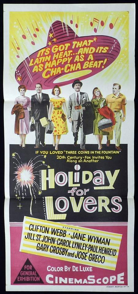 HOLIDAY FOR LOVERS Original Daybill Movie Poster Clifton Webb Jane Wyman