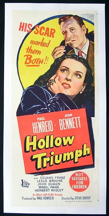 HOLLOW TRIUMPH aka THE SCAR 1948 Paul Henreid FILM NOIR CLASSIC Linen Backed Daybill poster
