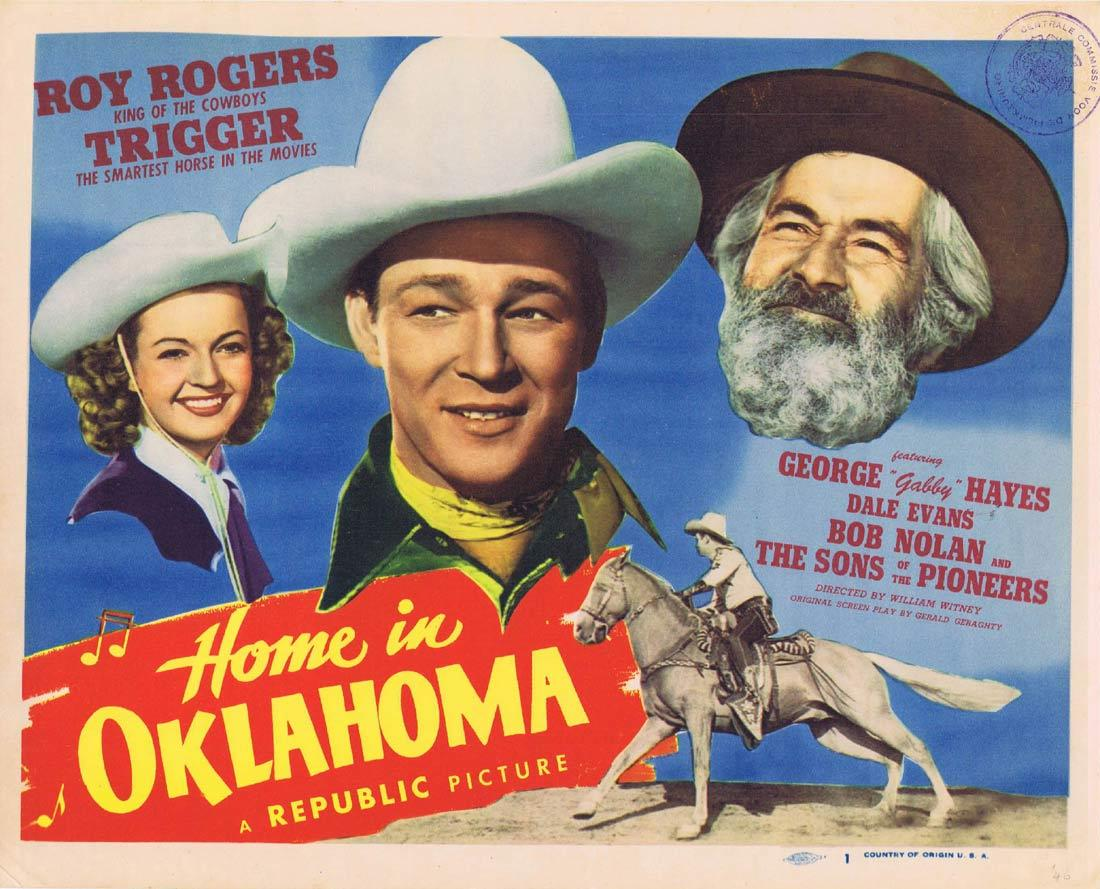 HOME IN OKLAHOMA Original Title Lobby Card Roy Rogers