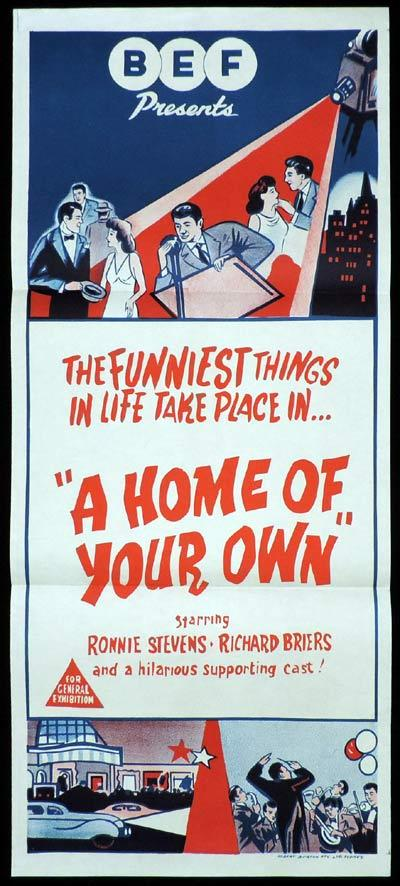 A Home of Your Own, Jay Lewis, Bridget Armstrong, Ronnie Barker, Richard Briers, Janet Brown, Peter Butterworth, Gerald Campion, Helen Cotterill, Bernard Cribbins, Fred Emney, Bill Fraser, Barrie Gosney, Douglas Ives, Harry Locke, Jack Melford, Norman Mitchell, Thelma Ruby, Ronnie Stevens, Tony Tanner, Thorley Walters, Aubrey Woods