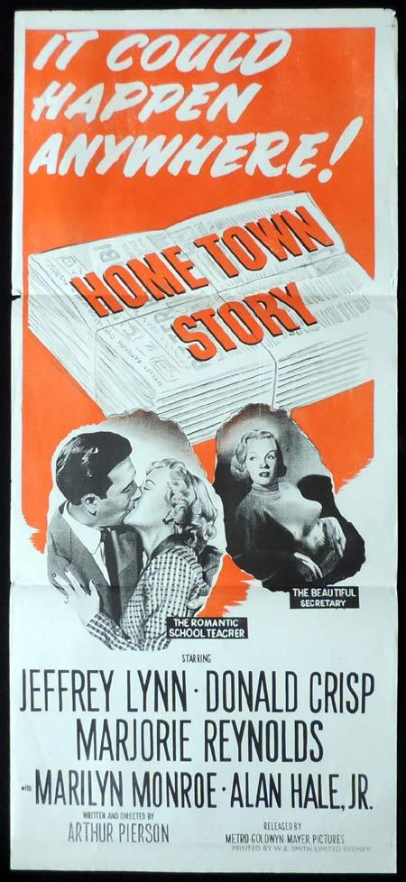 HOME TOWN STORY Original Daybill Movie Poster MARILYN MONROE Jeffrey Lynn Richardson Studio