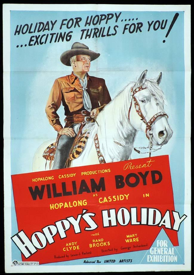 HOPPY'S HOLIDAY Original One sheet Movie Poster William Boyd Hopalong Cassidy