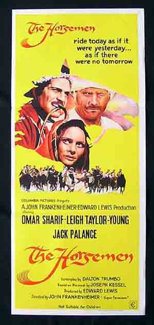 THE HORSEMEN Daybill Movie Poster OMAR SHARIF Leigh Taylor-Young