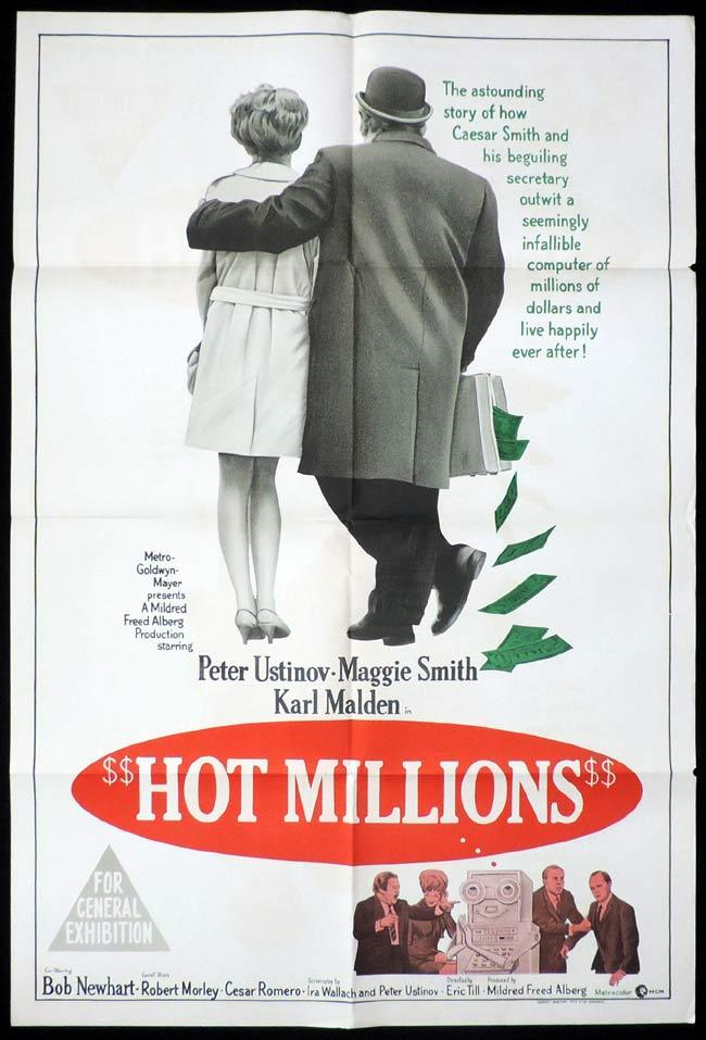 HOT MILLIONS One Sheet Movie Poster Peter Ustinov Maggie Smith