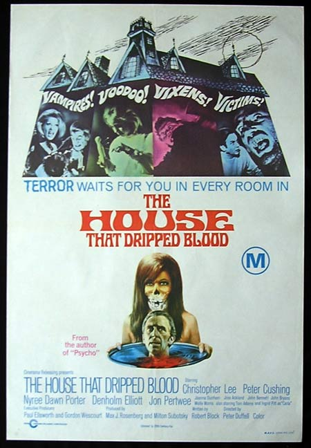 HOUSE THAT DRIPPED BLOOD Original One sheet Movie poster Christopher Lee Peter Cushing