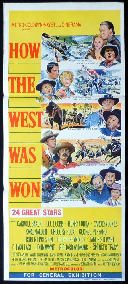 HOW THE WEST WAS WON John Wayne daybill movie poster